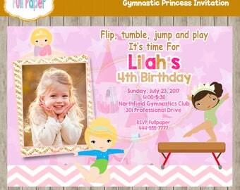 Gymnastic Princess Invitation, Princess Gymnastic Invitation, Gymnastic Invitation, Princess Invitation, Gymnastic Birthday, Princess Party