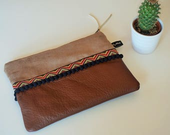 Ethnic leather wallet Brown and beige suede