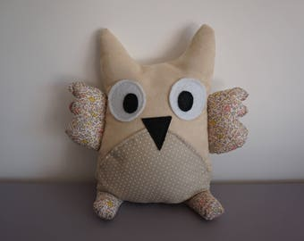 Cuddly OWL suede ecru and pastel Liberty