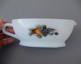 Vintage arcopal opaline glass gravy boat creamer fruits milk glass