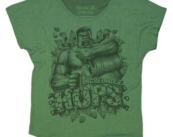Hulk Shirt- Womens Craft Beer Fashion Fit Shirt- The Incredible Hulk Hand Screen Printed on a Womens Dolman