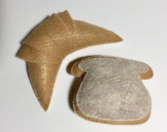 Felt Croissant Bread Catnip Cat Toy Handmade