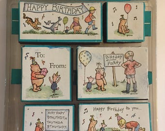 Classic Disney Winnie the Pooh Birthday Party 6 Rubber Stamp Set Used
