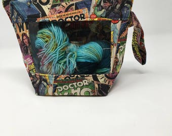 Knitting and Crochet project bag -  peekaboo regular size -  dr who