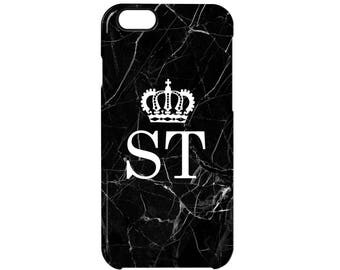 Black Marble Crown Queen Monogram Initial Personalised Phone Case Apple iPhone Samsung Galaxy