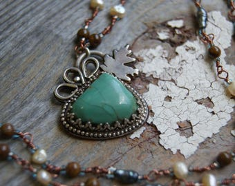 Maple Leaf Turquoise Pendant- Nature Inspired Necklace- Handmade Chain with Ornate Pendant