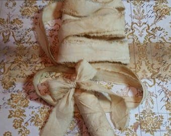 Coffee Stained Muslin Ribbon- Vintage Inspired Coffee Stained, hand frayed muslin ribbon.