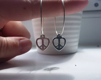 Heart peace sign hoop earrings
