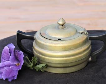 Lidded Sugar Bowl - Silver Plate with Bakelite Handles