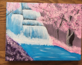 9 Inch x 12 Inch Cherry Blossom Trees & Waterfall Acrylic Hand Painted Canvas Painting