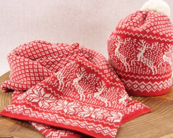 Nordic fair isle knitted hat + scarf, Gift Set for her, Nordic knitwear with deer. Colours-bright red,natural white.