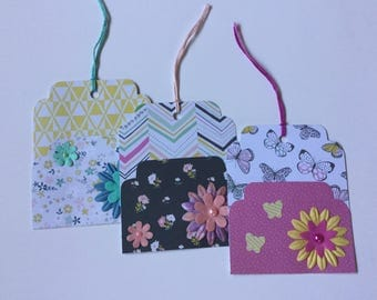 Pocket tags, Spring gift tags, planner accessories, journaling, scrapbooking, embellishments, craft, snail mail, paper craft