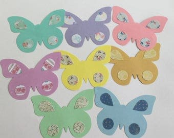 Paper butterfly, butterfly cut outs, scrapbooking, baby shower decoration, card making, paper supplies, butterfly embellishments, Set of 8