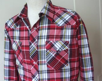 vintage mens plaid Country Western shirt with pearl snaps - RUSTLER cowboy - deep red, navy, white, yellow + black - size extra large - xxl