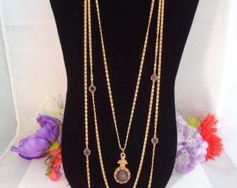 Vintage GOLDETTE Three Strand Purple Reversed Intaglio Cameo Goldtone Necklace with 2 Strands w/Purple Swarovski Crystals