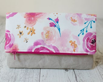 Floral fold over clutch with washable paper. Watercolour clutch. Bridesmaid clutch bag. Zipper pouch. Bridesmaid proposal. Floral purse.