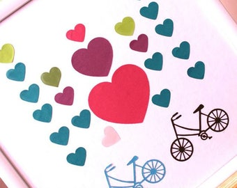"3d picture  ""Travel and bike""guest book alternative - 3d heart guestbook - Heart Guest Book - Hochzeit Gast Buch by Pomponi"