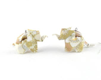 Origami Japanese paper - Elephant-Beige/gold-Origami - earrings