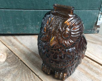Vintage Owl Bank - Wise Old Owl - Glass Owl - Owl Decor - Owl Figurine - Brown Owl