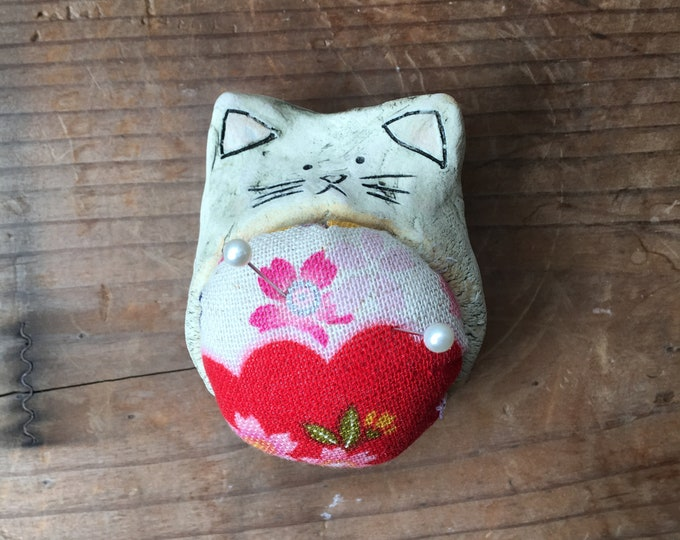 Ceramic Cat Pincushion
