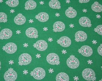 Fabric by the Yard, Green Holiday Ornament Fabric, 100% Cotton Fabric, 1 Yard Fabric
