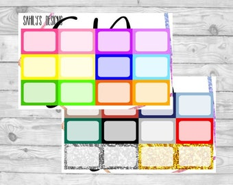 HALF BOXES multi colors  // Planner Stickers // Erin Condren Stickers // Functional Stickers // Planner Stickers // The Happy planner