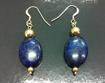 Earrings with Lapis Lazuli and plated 14 k gold