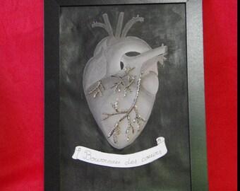 """Cœur anatomique """"bourreau des coeurs"""", dessin coeur gris au fusain en technique mixte, tableau Gwenda'ailes"""