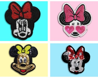 Minne Mouse Sequin Iron on Patch (M,L) - Sequin Minne Mouse  Cartoon Patch, Glitter Applique Iron on Patch, Sequin patches