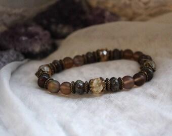 Aura Quartz, Protection Bracelet, Meditation Bracelet, Reiki Bracelet, Yoga Bracelet, Gemstone Bracelet, Boho Bracelet, Vegan Bracelet