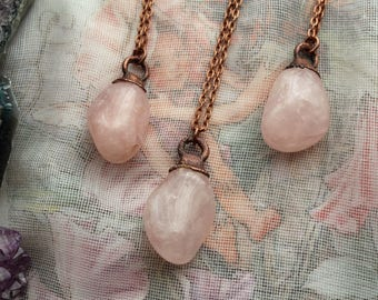 Rose Quartz Necklace, Rose Quartz Jewelry, Heart Chakra, Copper Plated Crystal Necklace, Electroformed Jewelry, Boho Copper Jewelry, Pagan