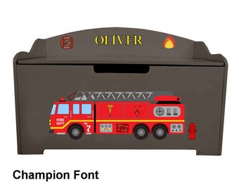 Personalized Dibsies Modern Expressions Firetruck Toy Box - Brown