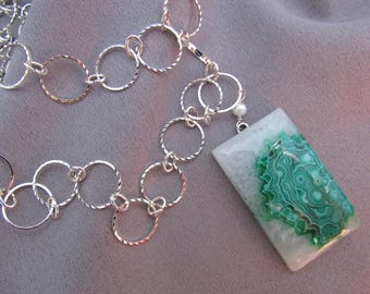 Green and White Agate Druzy Pendant Necklace/Gift for Her