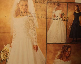 UNCUT McCall's 7452 Misses' Bridal Gown and Bridesmaids Dress Size A (6,8,10)
