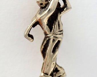 GOLFER Mens Vintage Tie Tack Gold Tone Lapel Pin Golf Sports