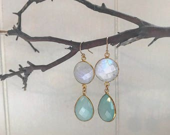 Aqua Moondrop Earrings in Gold
