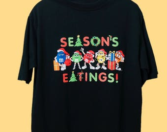 90's M&M Christmas Shirt, Aeasons Eatings Groovy Holiday T-shirt, 90s T-shirt,  Aesthetic, Tumblr, M