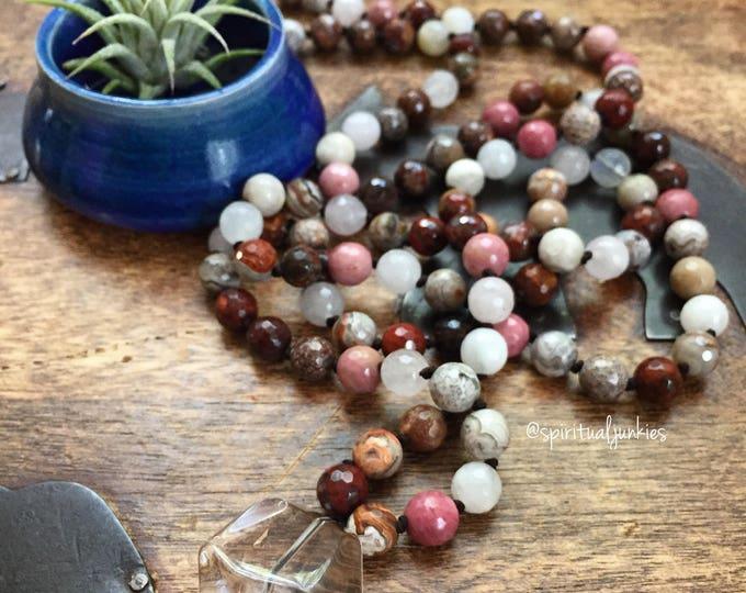 Passionate Life Mala | Gemstone, Moonstone, Rose Quartz + Quartz Crystal | Spiritual Junkies | 108 Bead Handknotted | Yoga + Meditation