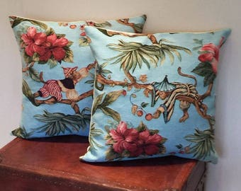 Set of 2 Monkey Pillow Covers - 18x18 Belgian Tapestry Pillow Covers - Picking Berries - PC-5483/5484