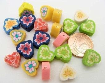 20 perles fimo Coeur 10mm mix motifs diy création bijoux déco