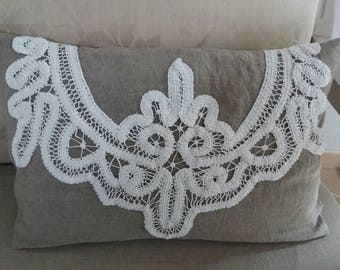 linen and old lace embroidery Cushion cover