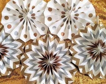 Gold Paper Fans Eid Decorations, Hajj Decorations Eid Party Muslim Festival 5 pack Silver paper pans