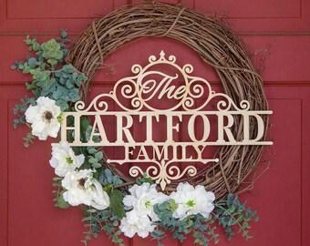 Custom Hartford Family Name Wood Sign - Custom Monogram Gift, Personalized Wooden Monogram, Monogram Wedding Gift, Family Gifts