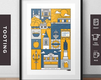 Tooting - City Print/Tea Towel/Mug  // London Architecture // Statement Poster // Gifts for new home // Handmade Illustration // Design