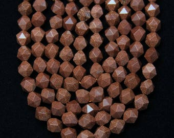Natural Red Goldstone Beads in Round Shape,Polished Faceted Gemstone Beaded,15.5inches strand