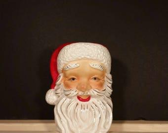 Vintage Irice Santa Head Candleholder Vase