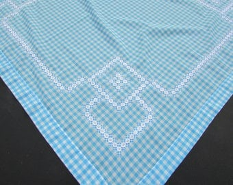 Blue Cross Stitch Gingham Tablecloth, Table Topper/ Vintage 1960u0027s Square  Hand Cross Stitched TableCloth