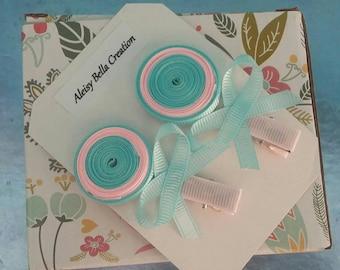 Aqua Blue And Pink Lollipop, Hair Clip