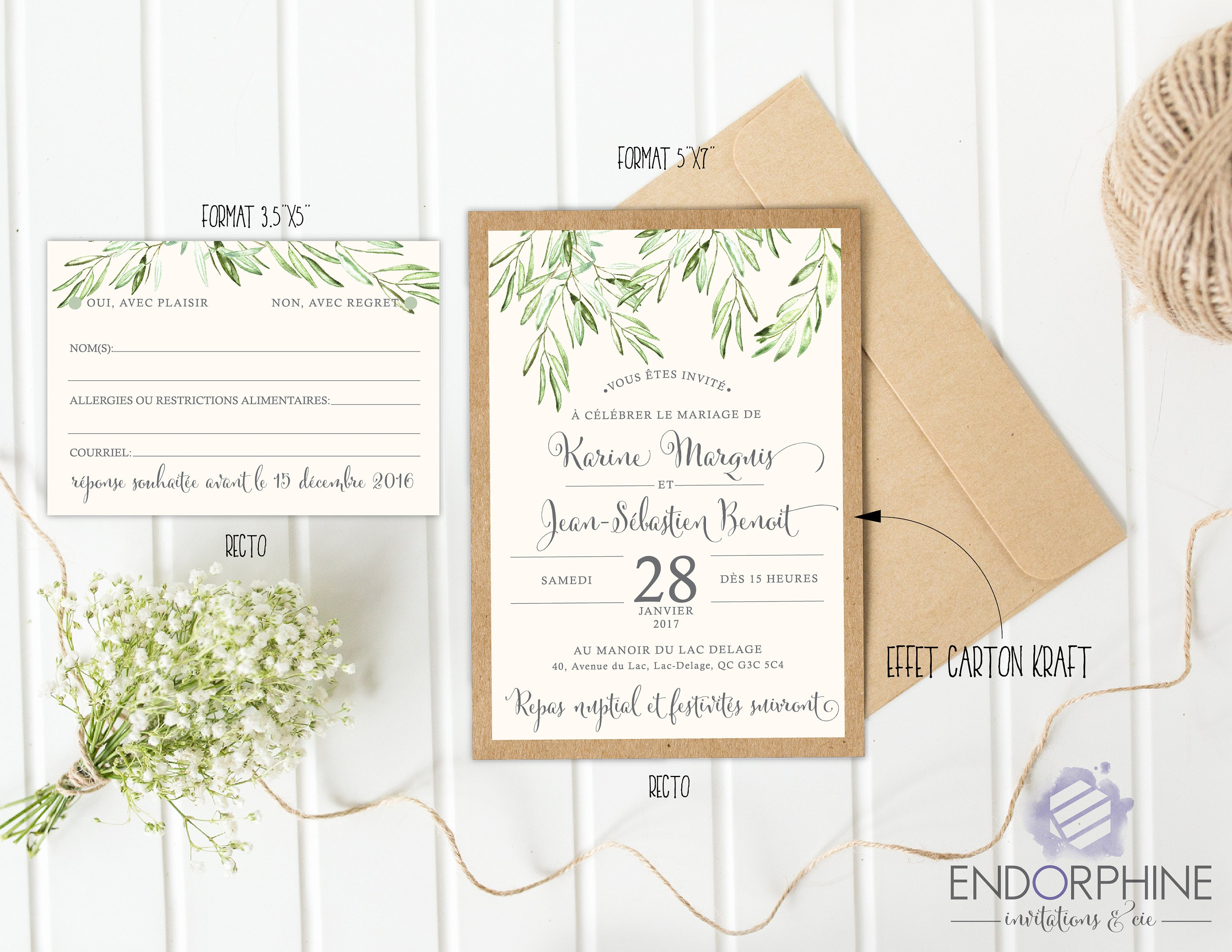 Vegetable print wedding invitation. Invitation + RSVP card ...