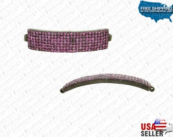 Ruby 7 Row Rectangular Curve Bar Disc Bracelet Connector Finding with 925 Silver, Bar spacer, Pink diamond pacer, Rectangular spacer